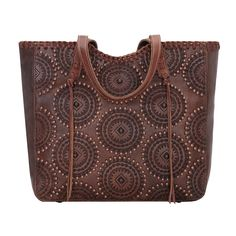 American West Kachina Spirit Large Zip Top Tote Chestnut - Circular Designs