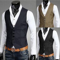 Details about Men Business Jacket Suit Slim Fit Vest Top Casual Business Formal Vest Waistcoat - Suit Fashion Formal Vest, Casual Formal Dresses, Casual Outfits, Mens Dress Outfits, Men In Dresses, Men's Outfits, Dress Casual, Fashion Outfits, Costumes Slim