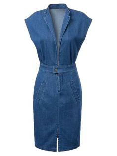Blue Lapel Deep Plunge Open Belly Split Denim Bodycon Dress By JStyle