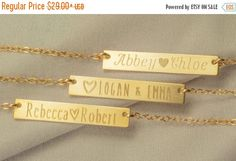 Personalize engraved necklace with names of children