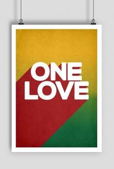 Poly Lo. -  Plakat One Love rasta reggae, poster, shop online
