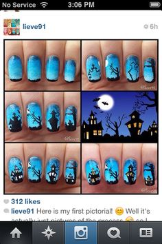 Spooky haunted house nails tutorial