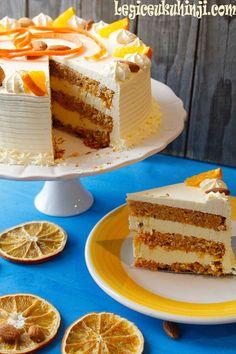 Torta od mrkve, badema i naranče Torte Recepti, Kolaci I Torte, Frosting Recipes, Cake Recipes, Dessert Recipes, Best Carrot Cake, Torte Cake, Homemade Sweets, Drip Cakes