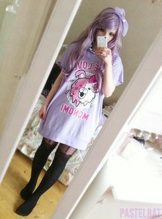 Pastel goth with the pastel shirt dress, black thigh high tights, and lilac hair. Pastel Goth Fashion, Fashion In, Kawaii Fashion, Lolita Fashion, Grunge Fashion, Cute Fashion, Asian Fashion, Estilo Harajuku, Harajuku Mode