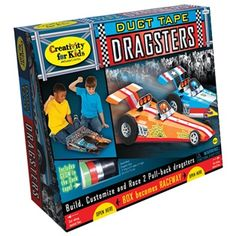 Duct Tape Dragster - Ready, set, race! Build 2 pull-back dragster cars and then add loads of duct tape, glow-in-the-dark tape and stickers. Up-cycle the box and turn it into the starting line as these souped-up cars and cut-outs make this the coolest race on the block. Age: 6+