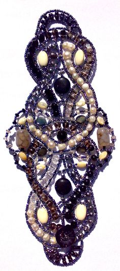 """""""Anemone Rococo"""" bracelet from Musesa Collection. Stunning ! Onyx, Dragon Veins Agate, Mother-Pearl Shell, Black Goldstone, White Turquoise, Black Moss Quartz, Freshwater Pearl, Rock Crystal, Swarovski Crystals. $650.00"""