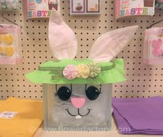 light up glass block bunny