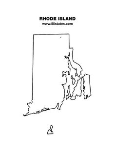 Blank map of Rhode Island. Find this map and the other 49 states at http://www.50states.com.