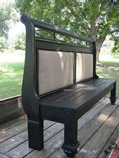 headboard to a bench, determined to make such a thing after seeing a few at the fleamarket...