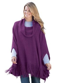 Woman Within Plus Size Fringed poncho $29.99