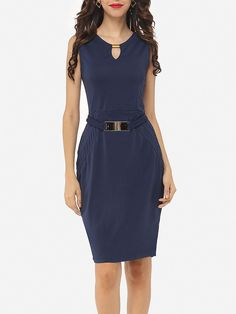 #AdoreWe #Fashionmia Fashionmia❤️Designer Womens Plain Split Decorative Buttons Chic Round Neck Bodycon-dress - AdoreWe.com