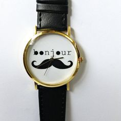 Bonjour Moustache Watch, Vintage Style Leather Watch, Women Watches, Unisex Watch, Boyfriend Watch Black