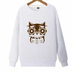 Cartoon geometric owl sweatshirt for teens plus size pullover sweatshirts