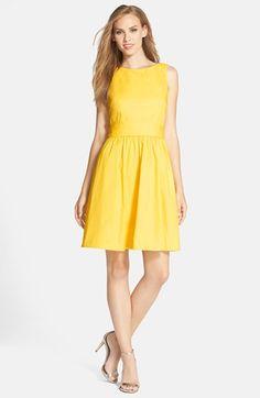 Eliza J Open Back Tie Waist Stretch Cotton Fit & Flare Dress (Regular & Petite) | Nordstrom