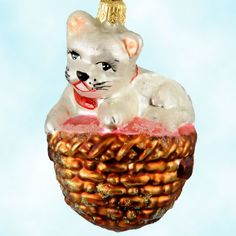An endearing Christopher Radko Kitten Kaboodle, mouth blown and handcrafted retired Polish glass Christmas tree ornament, 1998, 98-370-0, 983700.