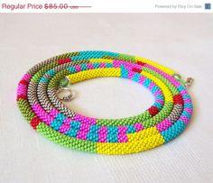 EASTER SALE Long Beaded Crochet Rope Necklace Beadwork by lutita, $76.50
