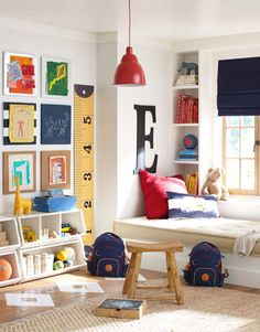 Get playroom ideas and inspiration from Pottery Barn Kids. Shop playroom furniture, and storage ideas from some of our favorite playrooms. Playroom Design, Playroom Decor, Kids Decor, Diy Room Decor, Playroom Furniture, Loft Playroom, Boys Playroom Ideas, Playroom Colors, Sunroom Playroom