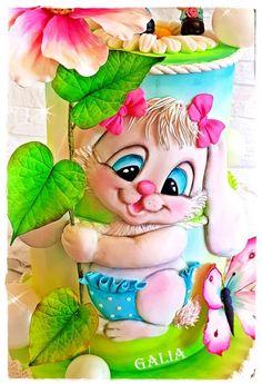CUTE RABBIT by Galia's Art Adult Birthday Cakes, Cool Birthday Cakes, Pretty Cakes, Beautiful Cakes, Cupcakes, Cupcake Cakes, Rabbit Cake, Fancy Cookies, Fashion Cakes