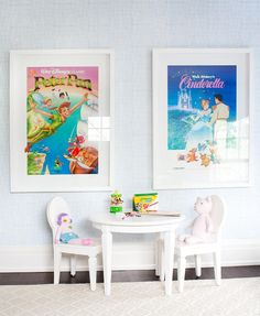 Anne Hepfer Designs - Lotti Karotti - Anne Hepfer Designs great idea of framing Disney posters for a kid's room! [House of Turquoise: Anne Hepfer Designs] - House Of Turquoise, Playroom Design, Playroom Decor, Playroom Ideas, Kid Playroom, Playroom Storage, Playroom Flooring, Playroom Table, Kid Decor