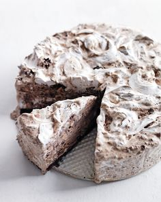 Chocolate Ice Cream Cake with Hazelnuts and Marshmallow Swirl
