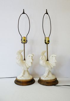 Pair of Vintage White Rooster Lamps French Country Decor / Farmhouse Cottage