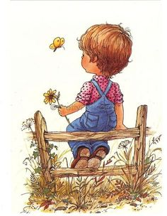 Vintage Dutch postcard of a little Boy sitting on a Fence - Sarah Kay style Vintage postcard from the Unsent Excellent vintage Sarah Key, Holly Hobbie, Sara Key Imagenes, Mary May, Illustrations, Cute Illustration, Vintage Children, Cute Drawings, Cute Art