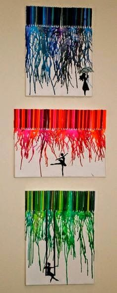 Colorful melted Crayon craft ideas.
