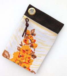 1950's Yellow Floral Vintage Barkcloth   by didyoumakeityourself