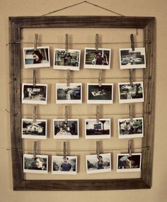 This is so cute, all you need is a old frame,wire,nails and old close pins :)