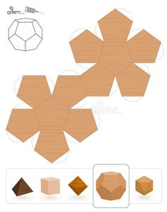 Illustration about Platonic solids. Template of a dodecahedron with wooden texture to make a paper model out of the triangle net. Illustration of collection, geometrical, samples - 128430185 Cement Art, Concrete Crafts, Concrete Art, Paper Crafts Origami, Diy Paper, Paper Art, Diy Arts And Crafts, Diy Craft Projects, Diagrammes Origami