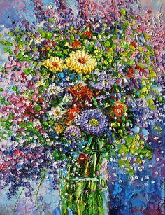 Купить Летнее настроение - лето, настроение, мастихин, букет, цветы, масло, масляная живопись