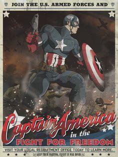 Captain America Armed Forces Recruitment poster by MikeMahle on DeviantArt Superman, Batman, Bd Comics, Marvel Dc Comics, Capitan America Comic, Comic Books Art, Comic Art, Captain America Poster, Capt America