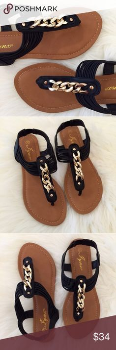 cb0fcda25186d •LAST 1• Gold Chain Black T-Strap Sandals Gold Chain Accent Sandals.