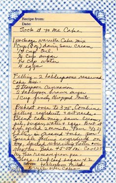 Sock It To Me Cake Recipe from the 80s - sounds good!