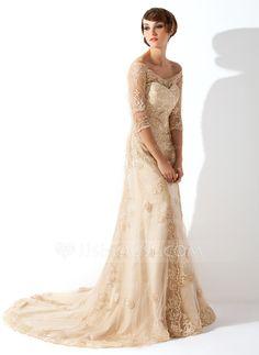 Corte A/Princesa Hombros caídos La capilla de tren Satén Tul Vestido de novia con Encaje (002011393)