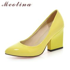 172c368c0ca9 Meotina High Heels Shoes Women White Wedding Shoes Thick High Heels Fashion  Party Pumps Footwear Yellow Red Big Size 9 10 41 43