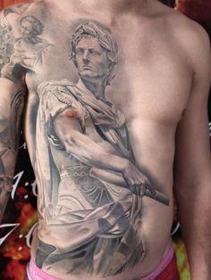Full size greyscale tattoo of Gaius Julius Caesar statue