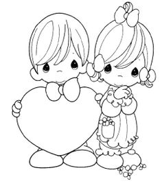 Precious Moments To Celebrate Valentine's Day Coloring For Kids