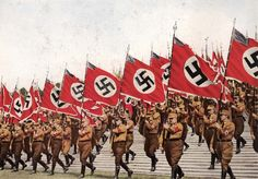 Nuernberg, Germany, 1933, A parade of SA flags on the fifth Parteitag.