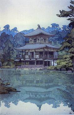 Japanese Ukiyo-e: Golden Pavilion. Hiroshi Yoshida. 1933 - Gurafiku: Japanese Graphic Design