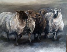 Website of Laura Wijsman Sheep Paintings, Animal Paintings, Suffolk Sheep, Sheep Art, Cow Painting, Sheep And Lamb, Cow Art, Farm Yard, Watercolor Animals