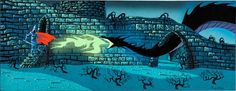 Animation Art:Concept Art, Eyvind Earle Sleeping Beauty Dragon Concept Painting (WaltDisney, 1959)....
