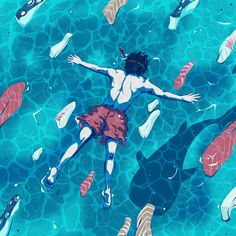 Snorkeling illustration by u00a9Eric Chow. Represented by i2i Art Inc. #i2iart