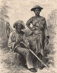 'Snake-Catcher and Charcoal Girl, Martinique'. Caption below picture:'Snake-Catcher and Charcoal Girl, Martinique'. Catcher, British Guiana, French West Indies, Aboriginal Art, How To Antique Wood, Black People, Black History, Middle East, Vintage Photos