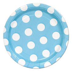 Baby Blue Polka Dot Dessert Plates (8) We've got this adorable baby blue pattern in lunch plates, napkins, cups, table covers, and more!