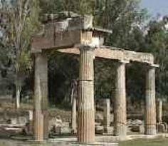 mythology, artemis, athena, apollo, demeter, persephone, zeus, hades, hera, archeology, archeological, archaeology, myths, temples, ruins, sightseeing, greece, greek, Zeus, Ares, Athena, Apollo, Aphrodite, Hermes, Artemis, Poseidon, Hades, Hestia, Hera, and Hephaestus, travel, travel to greece,: Columns at the Temple of Artemis at Vravrona (Brauron) in Attica, Greece.
