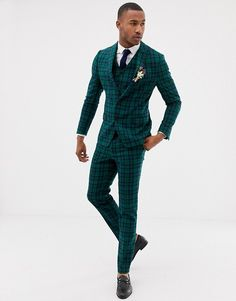 Order ASOS DESIGN wedding skinny suit jacket in blackwatch tartan online today at ASOS for fast delivery, multiple payment options and hassle-free returns (Ts&Cs apply). Get the latest trends with ASOS. Best Casual Outfits, Casual Wear For Men, Stylish Mens Outfits, Dress Casual, Best Mens Fashion, Mens Fashion Suits, Mens Suits, Best Suits For Men, Cool Suits