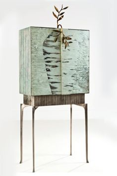 Cabinet Annibale oste France 2005 Aluminium,resin, silvered bronze and mirrored cabinet with 2 drawers