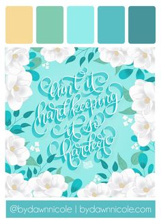 Hand Lettering Inspiration: Part Four. I'm sharing all my lettering challenge work from this month, along with some lettering tips and my color palettes! Pink Paint Colors, Paint Color Schemes, Hex Codes, Hex Color Codes, Type Illustration, Floral Illustrations, Lettering Tutorial, Hand Lettering, Digital Art Beginner