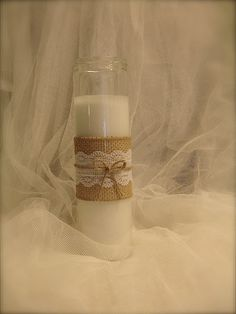 10 Bulk Burlap and Lace Candle holder Rustic wedding by BeQueath